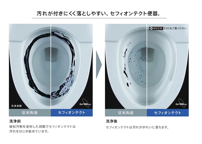 「菌すら入り込めないナノレベルの便器表面。汚れがツルッと落ちて、お掃除らくらく」