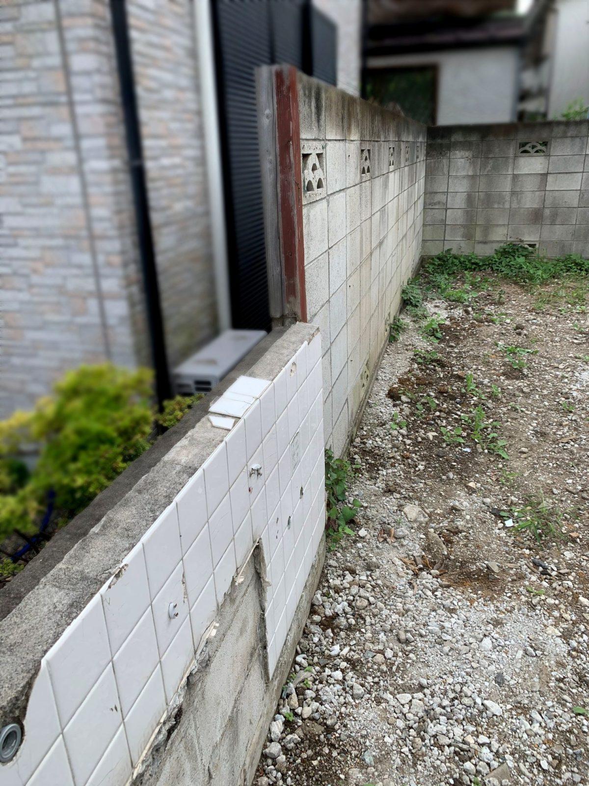 既存ブロック塀は高さがあり危険な状態でした。